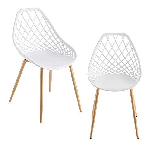 [en.casa] Designstuhl 2er Set Esszimmerstuhl aus Kunststoff Wohnzimmerstuhl Schalenstuhl Lehnstuhl mit Metallbeinen in Buche-Optik Weiß