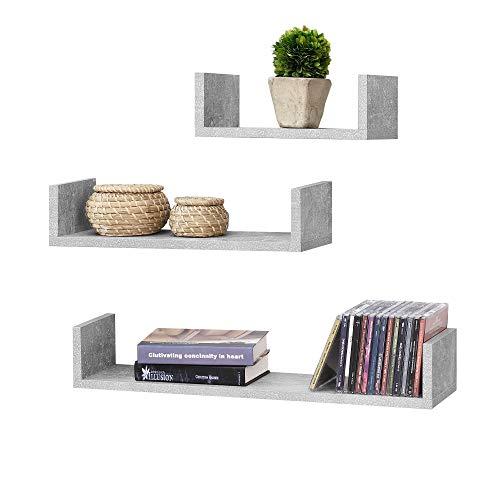 [en.casa] Set da 3 Mensole da Parete in Misure Diverse 3 Consolli Pensili a Forma di U Portaoggetti Libreria - Effetto Cemento