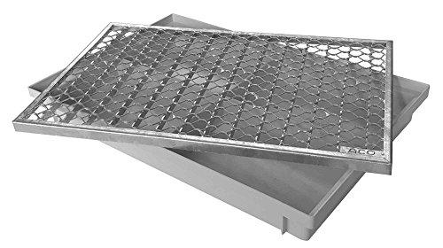 ACO 600x400 metalen rooster met bodemplaat Vario Light schoenhouder deurmat veger