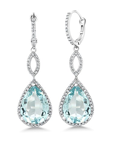 Gem Stone King 925 Sterling Silver Long Drop Dangle Elegant Wedding Bridal Chandelier Teardrop Earrings For Women (2 Inch Pear Shape 16X12MM, 20.00 Cttw)