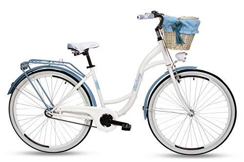 Goetze Blueberry Vintage Retro Citybike Damenfahrrad Hollandrad, 1 Gang ohne Schaltung, Tiefeinsteiger, Rücktrittbremse, 28 Zoll Alu Räder, Korb mit Polsterung Gratis!
