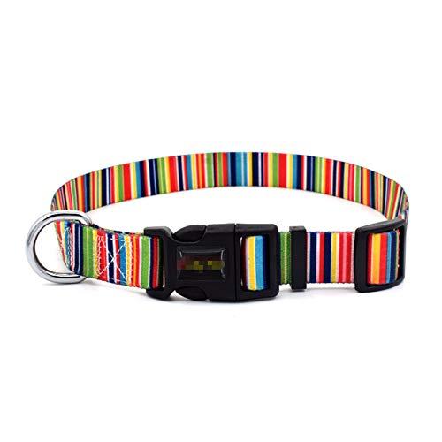 ANAZOZ Collier Chien Personnalisé Nylon Strip Strip-Multicolor M(20mm)