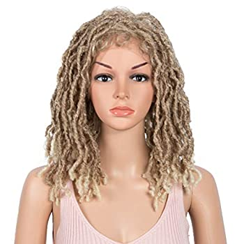 """Style Icon 15.5""""Short Faux Locs Wig with Baby Hair Synthetic Dreadlock Wig Natural Looking Handmade Braid Twist Wigs for Black Women  15.5 Inches T27/613"""