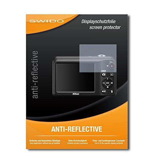 SWIDO Schutzfolie für Nikon Coolpix A10 [2 Stück] Anti-Reflex MATT Entspiegelnd, Hoher Härtegrad, Schutz vor Kratzer/Displayschutz, Displayschutzfolie, Panzerglas-Folie