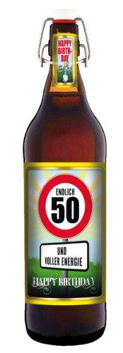 Geburtstag 50 Jahre - Herzlichen Glückwunsch - 1 Liter Flasche mit Bügelverschluss