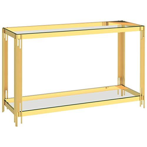 vidaXL Table d'Appoint Table Console Table de Salon Meuble de Salle de Séjour Maison Intérieur Doré 120x40x78 cm Acier Inoxydable et Verre
