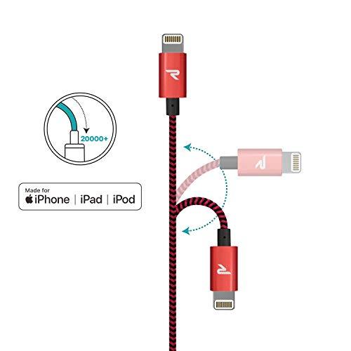 Rampow Lightning Kabel Kompatibel mit iPhone12, iPhone11, iPhoneXS, iPhone XR, iPhone X, iPhone 8, iPhone 7, iPhone 6, iPad - iOS 14-2m Rot
