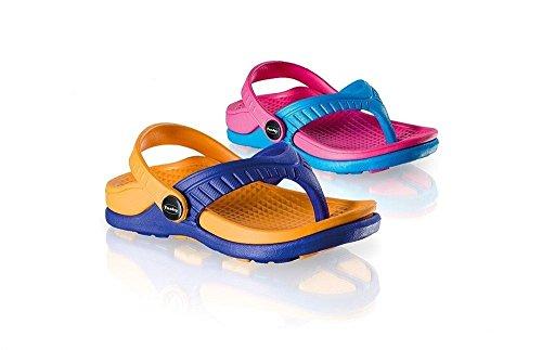 Fashy 7403- Kinder Badeschuhe Zehenslipper Gr. 24- 29 in 2 verschiedenen Farben Zehentrenner Badelatschen (25, orange/blau)