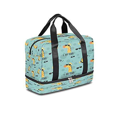 Bolsa de deporte para gimnasio, diseño de jirafa de animales de moda, ligera durante la noche, con bolsillo húmedo y compartimento para zapatos, bolsa impermeable para hombres y mujeres