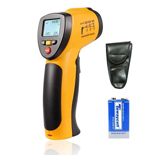 Digitales Infrarot-IR-Thermometer, berührungslose Laser-Temperaturpistole -58°F bis 716 °F (-50 °C bei 380 °C) zum Kochen, Auto-Wartung, Hausreparaturen (9 V Batterie enthalten) Hti-Xintai