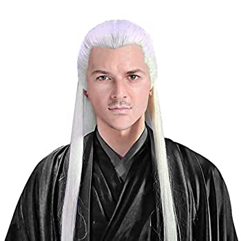 Men Wudang Priest Wig Asian Ancient Chinese Costume Accessory Halloween Hairpiece Long White Straight Hair  White