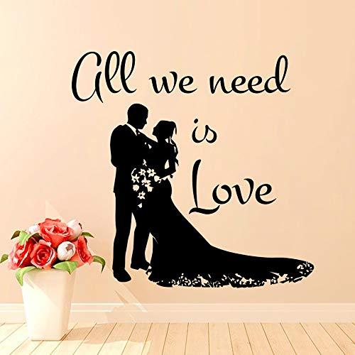 yaonuli Alles wat we nodig hebben is liefde muur stickers home decoratie bruiloft bruid en bruidegom muur stickers woonkamer decoratie
