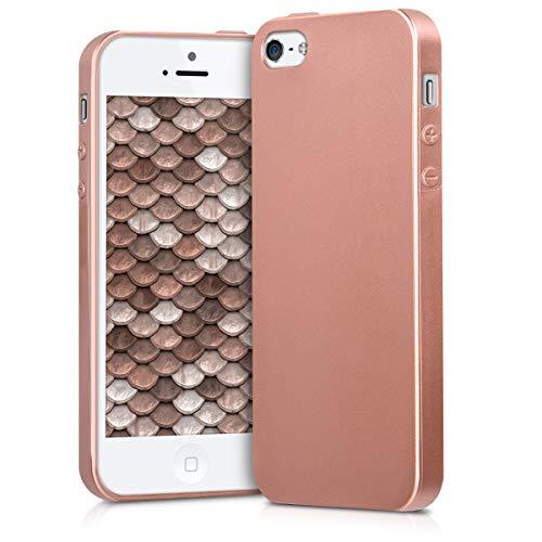 kwmobile Funda Compatible con Apple iPhone SE (1.Gen 2016) / 5 / 5S - Carcasa móvil de Silicona - Protector Trasero en Oro Rosa Metalizado