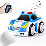 Remote Control Car for Toddlers RC Cartoon Race Car with Music and Lights 2.4GHz Radio Control RC Toy Car for Kids Newest STEM Toy 4 Modes Following Car Avoidance Car (White)