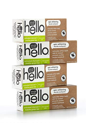 Hello Oral Care Activated Charcoal + Matcha Green Tea Epic Whitening Fluoride Toothpaste, Farm Grown Mint, 4.0 Ounce, 4 Count