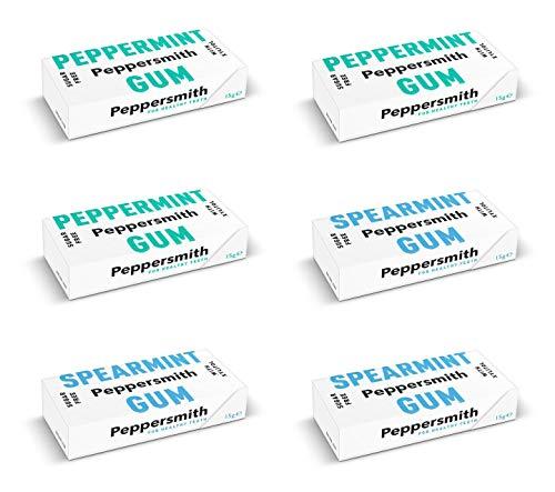 Peppersmith Kaugummi PROBIERSET: 3x Pfefferminz, 3x Spearmint (Grüne Minze), 90 g