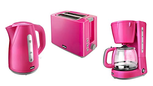 Prinz Pink Sunday Frühstücksset - Wasserkocher, Toaster, Filterkaffeemaschine