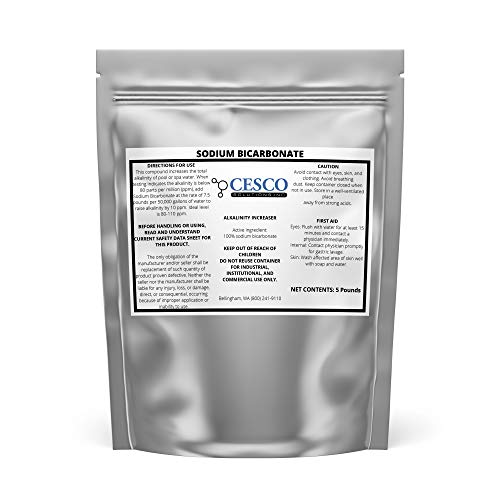 Cesco Solutions Sodium Bicarbonate Powder - 100% Pure Baking Soda for Raising Alkalinity in Pool, Cleaning Household Items - Multipurpose NaHCO3 for DIY Projects in Resealable Packaging - 5 Lbs