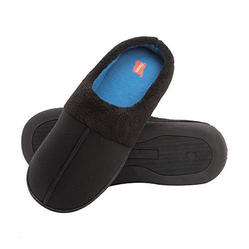 Hanes Men's Memory Foam Indoor Outdoor Clog Slipper Shoe with Fresh IQ, Black/Blue, 3X-Large