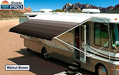 """Shade Pro RV Awning Fabric Replacement Heavy Duty Vinyl (20' (Fabric 19'2""""), Walnut Brown)"""