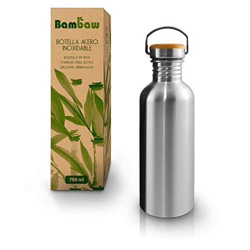 Bambaw Botella Agua Acero Inoxidable 750ml | Botella Reutilizable | Cantimplora Acero Inoxidable | Botella Metálica | Fácil De Limpiar | Botella BPA Free | Botella portátil | Botella Camping