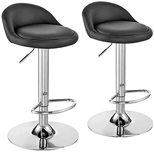 Silla, una silla ajustable altura barra de desayuno cuero sintético contador de 360 grados de rotación banco de la cocina un par de heces,Black