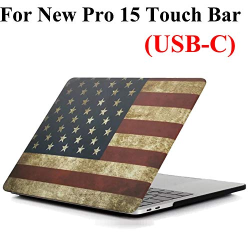 iZi Way MacBook Pro 15 Inch Case A1990/A1707 (Release 2019/2018/2017/2016), US Patriots Rubberized Hard Shell Cover for Apple Laptop Mac Pro 15 with Touch Bar & Retina Display - American Flag