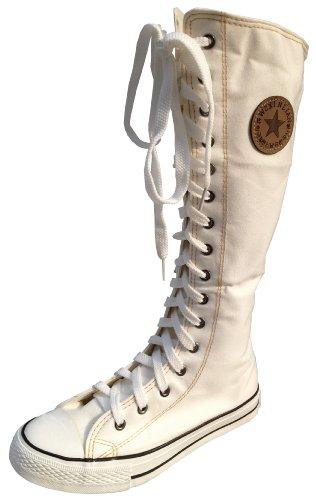 Damen/Mädchen Schnürstiefel, aus Leinen, kniehoch, Weiß - weiß - Größe: 37.5 (5 UK)