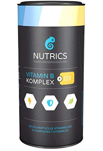 Nutrics I Vitamin B Komplex + D3 I 120 Kapseln hochdosiert I 100% Vegane Wirkkombination I Made in Germany