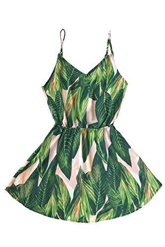 CUPSHE Women's Tropical Dream Banana Leaf Print Sleeveless Dress, M Green