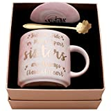 Luspan Sister Mug Gifts from Sister and Friend – Side by Side or Miles Apart, Sisters Will Always be Connected by Heart - Pink Marble Ceramic Coffee Mugs 11.5oz and FREE Cup Lid