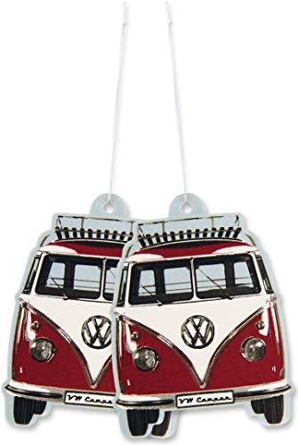 BRISA VW Collection - Volkswagen Furgoneta Hippie Bus T1 Van Ambientador para Coche, Desodorante del Vehículo, Difusor de Perfume/Fragancia, Accesorios para automóviles (Vainilla/Rojo) - Conjunto de 2