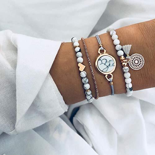 Simsly Juego de 4 pulseras de plata con cuentas de plata y cadena de accesorios de mano para mujeres y niñas