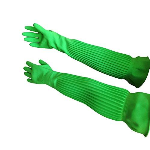 Hangnuo - Guantes de goma hasta el codo, impermeables, reutilizables - Para cocina, jardín, limpieza - 1 par de 58 cm verdes y naranjas, Verde, Large