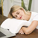 SRJMH® /Couple Pillow Arched Memory Foam Pillow with Rebound Pressure Arm Support Portable Easy Anti-Hand Numb (White)
