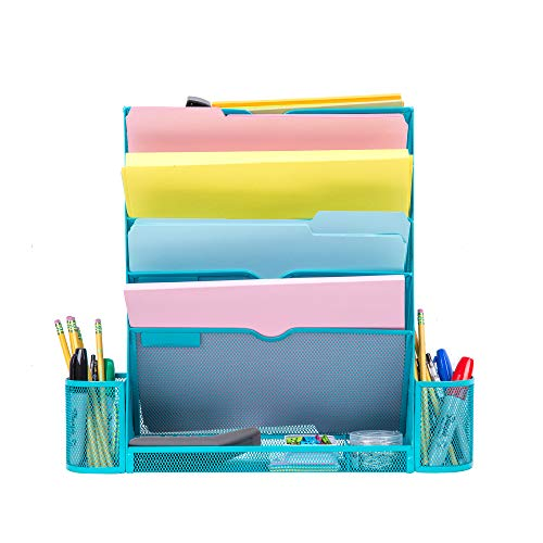 Pro Space Mesh File Organizer 6 Tier Wall File Folder Holder Ofiice Hanging Letter Tray Organizer with Bottom Flat Tray and 2 Pencil Holders, 6 File Folders, 1 Sticky Note,Sky Blue