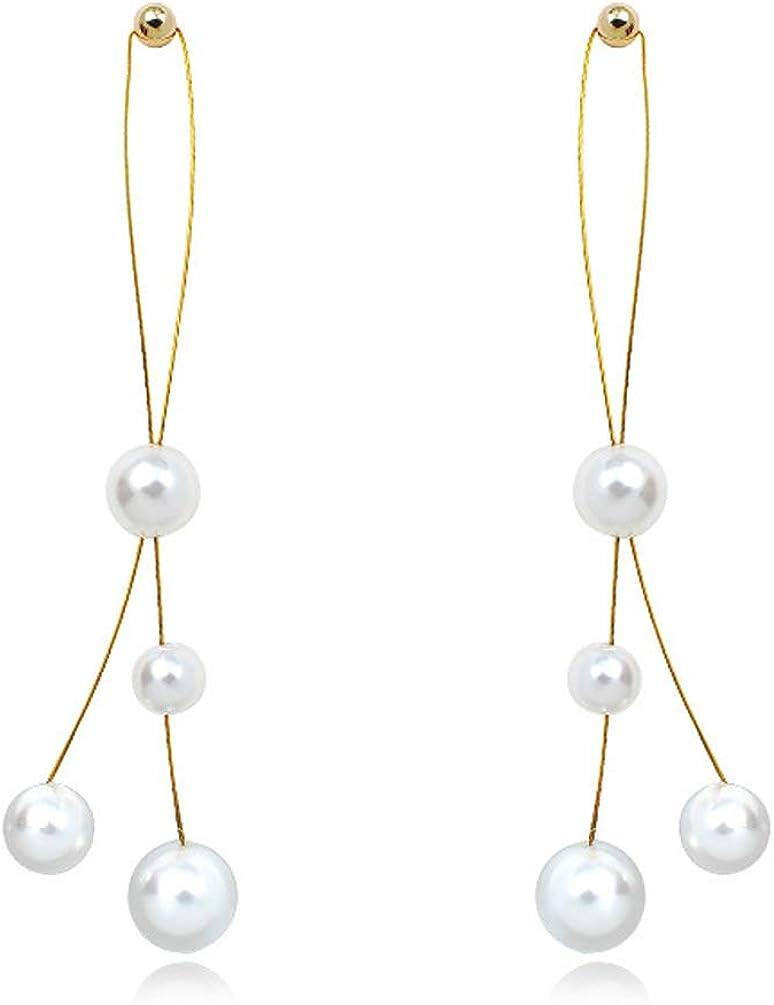 Faux Pearl Clip on Dangle Earrings no Pierced Long Tassel Drop Gold Plated for Women Girls
