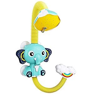 Baby Bath Shower Electric Shower Head Require 4 X 1.5 V AAA (not Included) - Bath Toy Bathroom Toy with Four Suction Cups for Baby Toddler Infant Shower Elephant