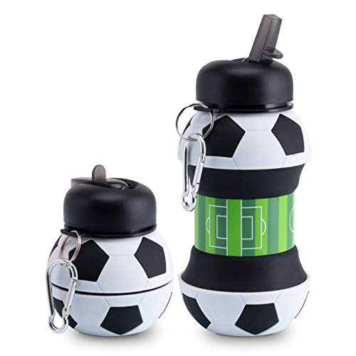 ELYFLAIR Trinkflasche Kinder - BPA frei - spülmaschinenfeste Sportflasche - für Schule, Freizeit und Sport - inkl. Karabinerhaken - faltbar - Flasche Fussball
