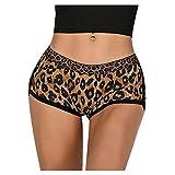 Dawwoti Leopardo De Las Mujeres De La Impresión del Athletic Yoga Stretch Pantalones Cortos De Bikini Pone
