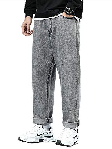 HUANG Pantalones de mezclilla rectos para hombre, ajuste holgado, clásicos, pantalones de gran tamaño, pantalones casuales, cintura media, color sólido