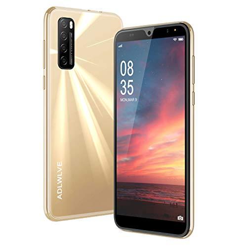 """Moviles Libres Baratos 4G, Android 9.0 3GB RAM 32GB ROM Telefono Moviles 6.3\"""" Water-Drop Screen FHD, Smartphone Libre Dual SIM 4600mAh Cámara 8MP 5MP Face ID Móviles y Smartphone Libres (Oro)"""