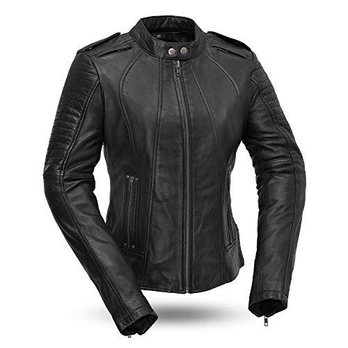 First MFG Co. - Biker - Women's Leather Motorcycle Jacket (Black, Medium)