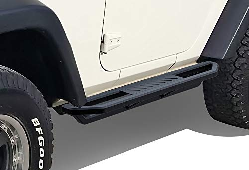 APS Off-Road Side Steps Armor Compatible with Wrangler JK 2007-2018 Sport Utility 2-Door (Factory Sidesteps or Rock Rails Have to Be Removed) iArmor Aircraft Black Side Steps