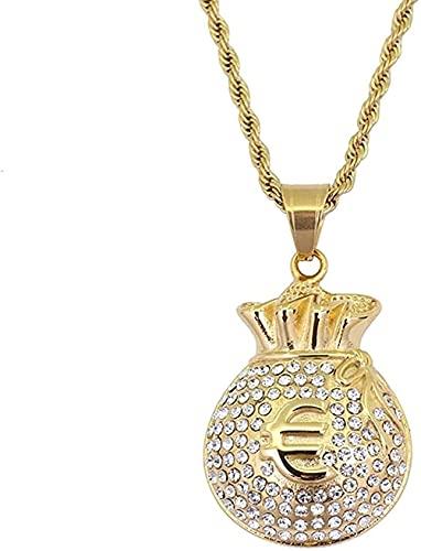 QIBANG Collar de Hiphop, Bolsa de Money Euro Hip-Hop Colgante Collar de Cristal de Rhinestone de Cadena de Acero Inoxidable para Hombres Mujeres
