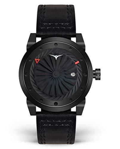 Zinvo Blade Phantom Turbine Automatik Miyota Edelstahl 316L IP Schwarz Grau Datum Leder Sapphire Herren Uhr