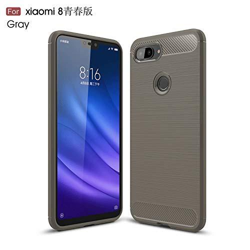 TiHen Funda Xiaomi Redmi 4A, Rugged Armor Funda (2019) Carbon Fibre Texture Silicona TPU Bumper antigolpes Fundas Carcasas [con Pantalla de Vidrio Templado]para Xiaomi Redmi 4A,Gris