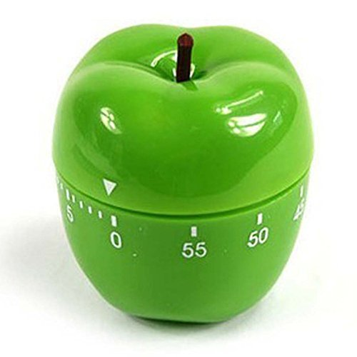 Shiny Green Apple Mechanical Kitchen Timer, 60 Minutes Fruit Vegetable Cartoon Timer Ringing Alarm