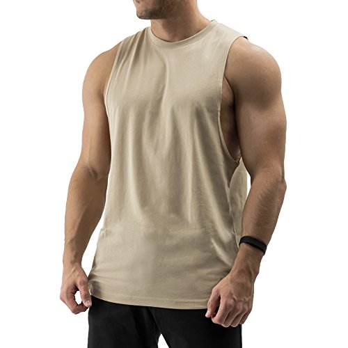 Sixlab Essentials Cut Off Tank Top Herren Muskelshirt Gym Fitness (S, Sand)