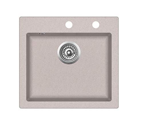 Lavello singolo da incasso in granito, 46 x 49 cm, per cucina, colore selezionabile tra beige o nero, rettangolare, con tappo a saltarello e sifone, Beige